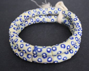 13 African Beads, Ghana Krobo Recycled Glass, 18-20mm Tubes, Cream/Blue for Jewelry and Crafts. 1 Full strand