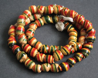 African Beads, Handmade Recycled Plastic, Approx 12-16 mm, Red/Dark Gree/Beige for Jewelry and Crafts, 1 Full Strand