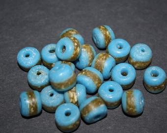 23 African  Beads, Handmade Recycled Glass from Ghana's Krobo,Blue, 13-15mm, Full Strand of 22