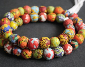 15 African Beads, Ghana Refashioned Glass Beads, Round  14-16 mm for Jewelry and Crafts, Mixed Designs