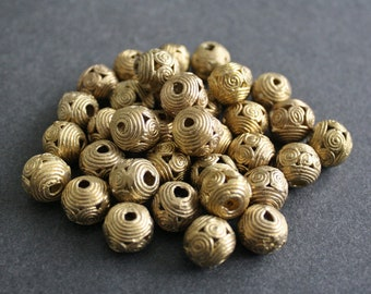 10 African Brass Beads, 11-13 mm Round, Ashanti Ghana Lost Wax Technique, Handmade Ethnic craft, for Jewelry and Crafts