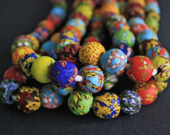 40 African Beads, Ghana Refashioned Glass, Handmade Round 17-19mm, for Jewelry and Crafts, Vibrant Mixed Colours & Designs, 1 Full Strand