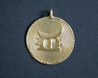 African Tribal Brass Pendant or Charm Handmade Ashanti Ghana Traditional Royal Stool, Lost Wax,  for Statement Necklace, 60 mm