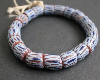 19 African Beads, Recycled Glass from Ghana's Krobo Chunky Tubes 16-18 mm,  1 Strand for Jewelry and Crafts, Reddish brown/Blue