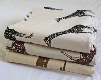 African Upholstery Fabric, Authentic Woodin Brand, Ghana Cotton Print, Cream & Brown Gazelle Print, By the Yard 2/3 yard Bundle
