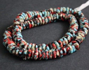 40 African Disc/donut Beads, Ghana Krobo Refashioned Glass 9-11mm Spacers , Handmade, Red/Pale Blue/Black