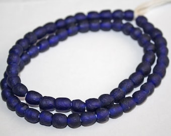 30  Cobalt Blue African Beads, Handmade Ghana Krobo  Recycled Glass, 7-8 mm Round, for Jewelry and Crafts, 071902