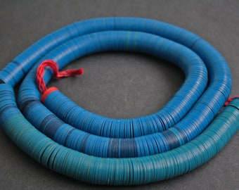 14-15 mm African Heishi Vinyl Vulcanite Beads,  Discs, Very Thin for Jewellery and Crafts  32.5 inches, Blue/Red