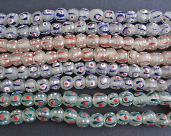 14 African Glass Beads, Handmade Recycled Glass from Ghana's Krobo, Round, 14-15 mm, 14-Pack, Clear, Blue/ Red/ White, 3 Colour Options