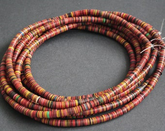 7 mm African Vinyl Beads, Vulcanite Heishi Discs, Very Thin, for Jewellery and Crafts, Red, Black, Yellow Mix, 40-Inch Strand