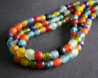African Beads, Ghana Krobo Recycled Glass, Round, Mixed Colours, 10-11mm, for Jewelry and Crafts, Full Strand/Pack of 25