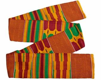 Kente Cloth, Authentic African Ghana Fabric, Handwoven, Red/Orange, Very Beautiful, Graduation Stole, Gift Idea
