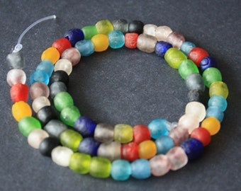African Beads, Handmade Recycled Glass from Krobo in Ghana, 6-7 mm Multi-Colours, Round, Full Strand of 70/Pack of 35