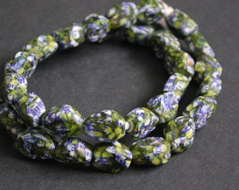 10 African Beads, 6-Sided Refashioned Glass from Ghana's Krobo, 15-20 mm,  Blue/White/Translucent Green