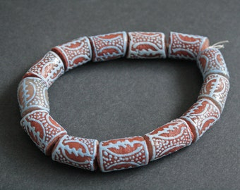 Adinkra African Beads, Chunky Handmade Recycled Glass from Ghana's Krobo, 20 mm, One Strand of 13, Brick Red/Pale Blue