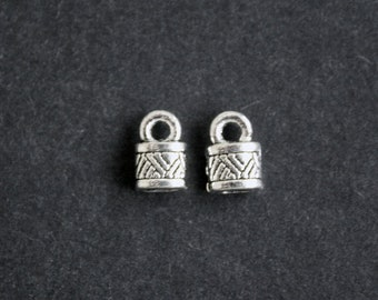 20 End Caps, Cord Ends, Antique Silver Coloured Tibetan style,  Lead, Nickel Cadmium-Free