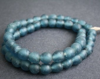 50 African Beads, Recycled Glass, Ghana Krobo  Round, 10-11 mm, for Jewelry and Crafts, Matte Pale Petrol Blue, 1 Full Strand