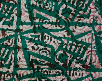 African Batik Fabric, Hand-dyed Preshrunk, Green, Sewing, Quilting, Crafting, Interiors, One Yard