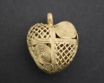 1 African Tribal Brass Pendant/Charm Handmade Ashanti Ghana, Heart-shaped Hollow Pod, for Statement Piece, 46 mm