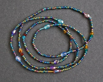 Waist Beads, 3 mm Iris Blue and Multi-faceted Glass Beads, Shimmery, Metallic, Pretty, Stretchy and Comfy