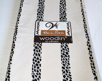 African Upholstery Fabric, Authentic Woodin Brand, Ghana Cotton Print, Off-White and Black, By the Yard