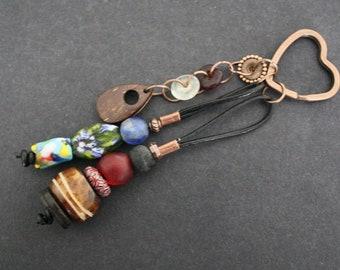Bag Charm, Handmade Recycled Beads Glass, Bone and Star Pendant, Gift, Stocking Filler
