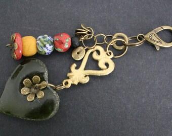African Bag Charm, Adinkra Handmade Krobo Ghana Beads and Ashanti Brass Beads, Small Gift for Her