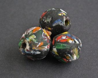 3 Large  African Beads, Refashioned Glass from Ghana's  Krobo, handmade, Black/Multi-colours, 23-27 mm