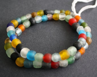 28 Round African Beads, Handmade Recycled Glass from Krobo in Ghana, 8-9 mm Multi-Colours