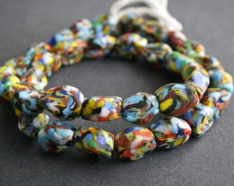 10 African Beads, Refashioned Glass, Handmade in Ghana's Krobo, 6-sided Rainbow/White, 15-18 mm