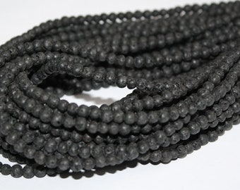 Natural Lava Beads, 4 mm, 2 Full Strands, 15 Inches each. Dark Grey/Nearly Black,