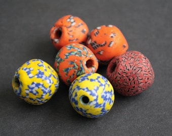 3 African Bi-cone African Beads,  Ghana Krobo Refashioned Glass, Handmade Ethnic Craft, 24 to 26 mm,Red/Lemon/Orange