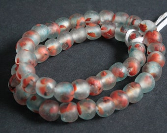 15 African Beads, Ghana Krobo Ethnic Refashioned Glass, 13-14 mm Handmade Ethnic Beads, Clear/Ocean Blue/Red,  for Jewelry and Crafts