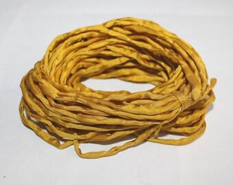 Amber Habotai Silk Cord, 3 mm Diameter,  Naturally Soft,  'Second Skin' For Jewelry, Jewellery, Pre-Cut
