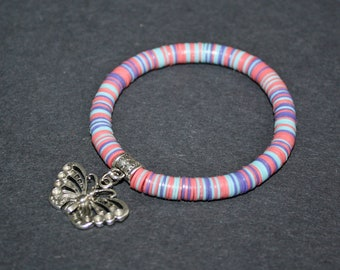 African Jewelry Bracelet StretchyAfrican Vinyl Vulcanite Heishi Disc Beads with Butterfly Charm, Pastels, Lovely Gift Idea