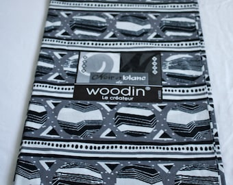 African Fabric by the yard, Authentic Ghana Woodin Brand Cotton Print, For Sewing, Crafts, Quilts, Head Wraps, Black & White