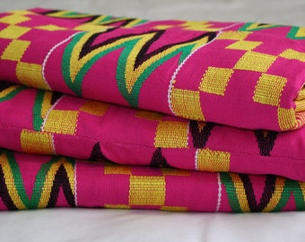 Pink Kente Fabric Handwoven Authentic Ghana, African Cloth, Wedding & Occasion Wear, Cotton, Fathia Design, 3 Large Pieces, 5.5 yards approx