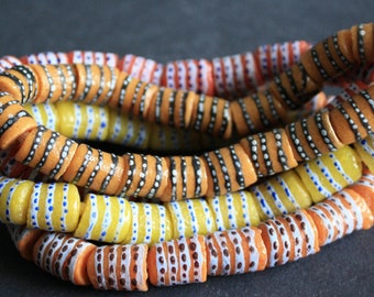 18 African Beads Recycled Glass Tubes from Ghana's Krobo, 12-14 mm, for Jewelry and Crafts, Dark Peach/Red/Lemon/Apricot, One Full strand