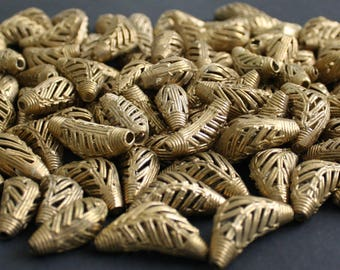 Elbow Brass Beads African Recycled Metal Ashanti Lost Wax for Jewelry/Jewellery and Crafts, Super Gorgeous, Herringbone design