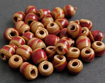 30 Brown/Red African Beads, Handmade Recycled Plastic, Approx 12-14 mm, for Jewelry and Crafts