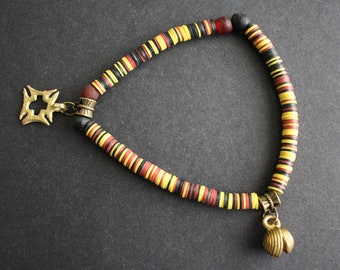 Stretchy Anklet, with African Adinkra* Charm, Vinyl Vulcanite Heishi Disc, Approx 9 inches,  Lovely Gift Idea, 2 Design Options