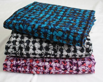 African Batik Fabric Ghana Cotton, Hand dyed Ethnic Print, for Sewing, Clothing, Interiors & Crafts, 4 Options, Grey/Turquoise/Pink/Purple