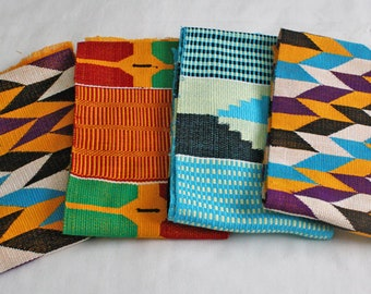 Kente Fabric Ghana Cotton Ethnic Handwoven Cloth Strip, Gift Idea, Graduation Stole, for Sewing, Crafts, Upholstery, 5 Options