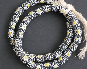 African Beads, Ghana Ethnic Recycled Glass,Krobo Tubes Handmade, 11 mm Black, White and Gold for Jewelry Jewellery and Crafts