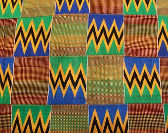 Kente Fabric  Authentic Handwoven Ghana Ethnic Cloth, Multi-Coloured, Excellent Weave, Simply Stunning! Size 128 x 85 Inches