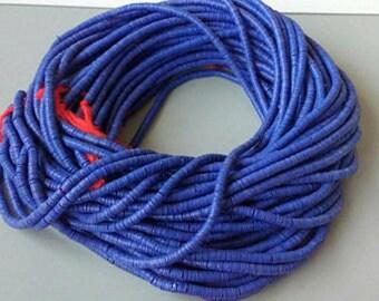 4 mm African Vinyl Beads, Vulcanite Heishi Discs, Deep Blue,  33 inch Long strand