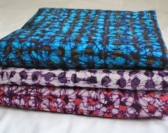 African Batik Fabric, Ghanaian Cotton, Hand dyed Ethnic Print, for Sewing , Clothing, Interiors and Crafts, 3 Colour Options,
