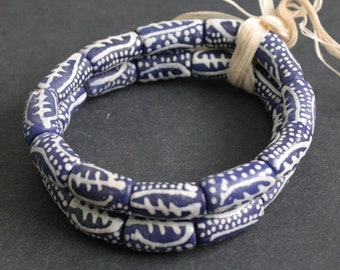 African Tube Beads,  Handmade Recycled Glass from Ghana's Krobo, with Adinkra design, 20 mm, One Strand of 12