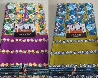African Fabric Woodin Brand, Ghanaian Cotton Print, Green/purple. 3 Yard bundle, for clothing, interiors and crafts