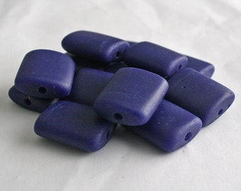 5 African Beads, Recycled Glass, Handmade ethnic Craft from Ghana, 26 x 25mm, Cobalt Blue